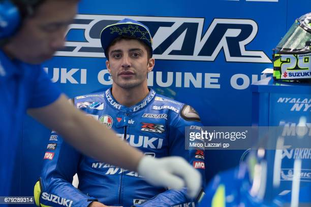 Andrea Iannone of Italy and Team Suzuki ECSTAR looks on in box during the MotoGp of Spain Free Practice at Circuito de Jerez on May 5 2017 in Jerez...