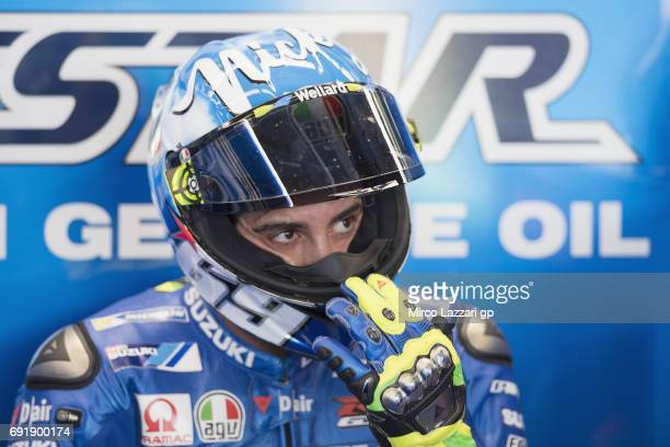 Andrea Iannone of Italy and Team Suzuki ECSTAR looks on in box during the MotoGp of Italy Qualifying at Mugello Circuit on June 3 2017 in Scarperia...