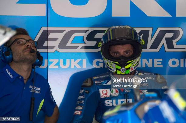 Andrea Iannone of Italy and Team Suzuki ECSTAR looks on in box during the qualifying practice during the MotoGP Of Malaysia Qualifying at Sepang...