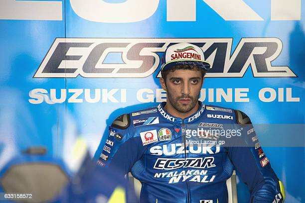 Andrea Iannone of Italy and Team Suzuki ECSTAR looks on in the box during the MotoGP Tests In Sepang at Sepang Circuit on January 31 2017 in Kuala...