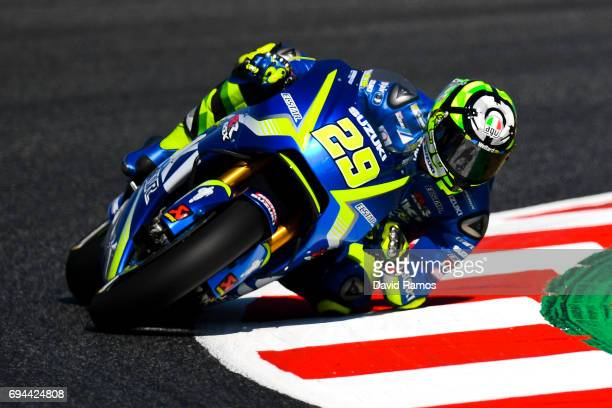 Andrea Iannone of Italy and Team Suzuki ECSTAR rides during a free practice ahead of qualifying at Circuit de Catalunya on June 10 2017 in Montmelo...