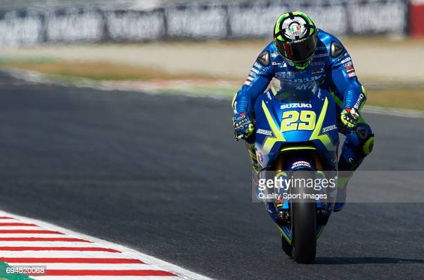 Andrea Iannone of Italy and Team Suzuki ECSTAR rides during free qualifying for the MotoGP of Catalunya at Circuit de Catalunya on June 10 2017 in...