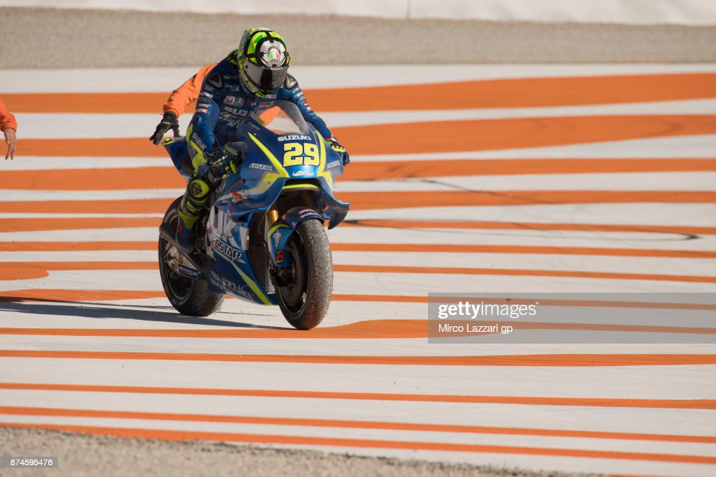 Andrea Iannone of Italy and Team Suzuki ECSTAR rides out of track during the MotoGP Tests In Valencia day 2 at Comunitat Valenciana Ricardo Tormo Circuit on November 15, 2017 in Valencia, Spain.