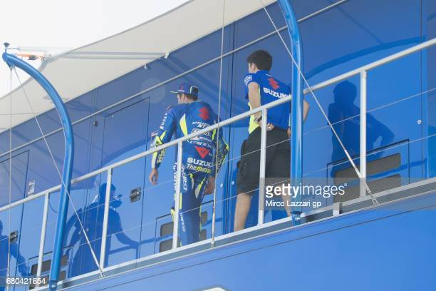 Andrea Iannone of Italy and Team Suzuki ECSTAR walks to his office on truck during the MotoGp Tests In Jerez at Circuito de Jerez on May 8 2017 in...