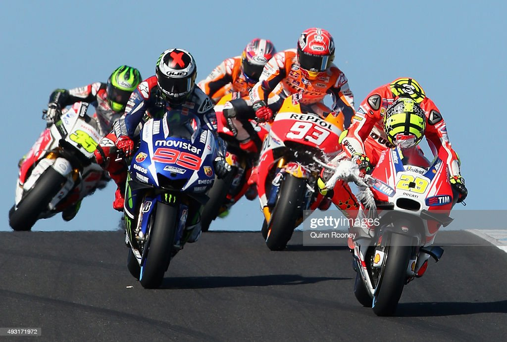 <a gi-track='captionPersonalityLinkClicked' href=/galleries/search?phrase=Andrea+Iannone&family=editorial&specificpeople=5314381 ng-click='$event.stopPropagation()'>Andrea Iannone</a> of Italy and the Ducati Team hits a seagull during the 2015 MotoGP of Australia at Phillip Island Grand Prix Circuit on October 18, 2015 in Phillip Island, Australia.