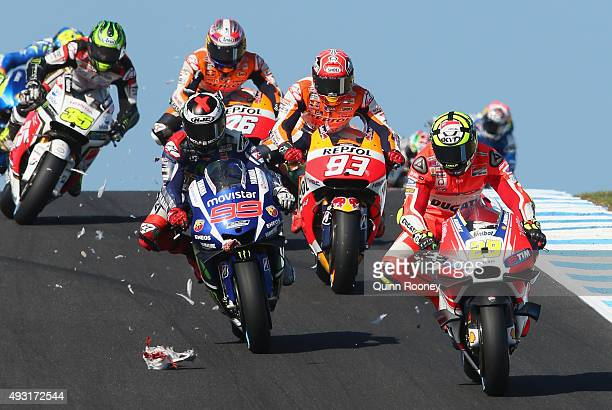 Andrea Iannone of Italy and the Ducati Team hits a seagull during the 2015 MotoGP of Australia at Phillip Island Grand Prix Circuit on October 18...