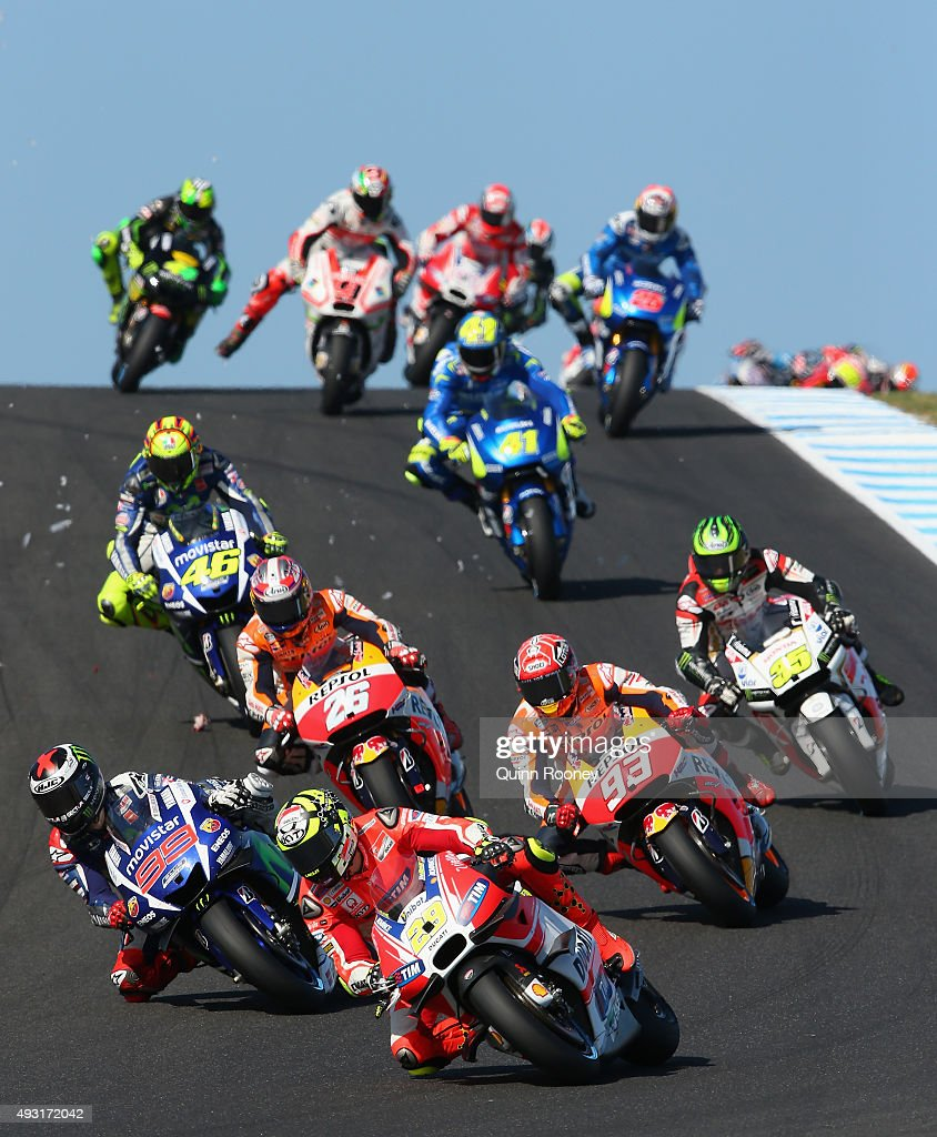 <a gi-track='captionPersonalityLinkClicked' href=/galleries/search?phrase=Andrea+Iannone&family=editorial&specificpeople=5314381 ng-click='$event.stopPropagation()'>Andrea Iannone</a> of Italy and the Ducati Team leads the field during the 2015 MotoGP of Australia at Phillip Island Grand Prix Circuit on October 18, 2015 in Phillip Island, Australia.