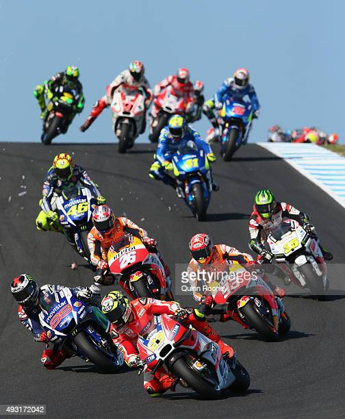 Andrea Iannone of Italy and the Ducati Team leads the field during the 2015 MotoGP of Australia at Phillip Island Grand Prix Circuit on October 18...