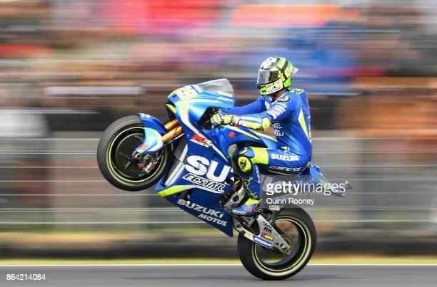 Andrea Iannone of Italy rides the TEAM SUZUKI ECSTAR Suzuki pops a mono after qualifying for the 2017 MotoGP of Australia at Phillip Island Grand...