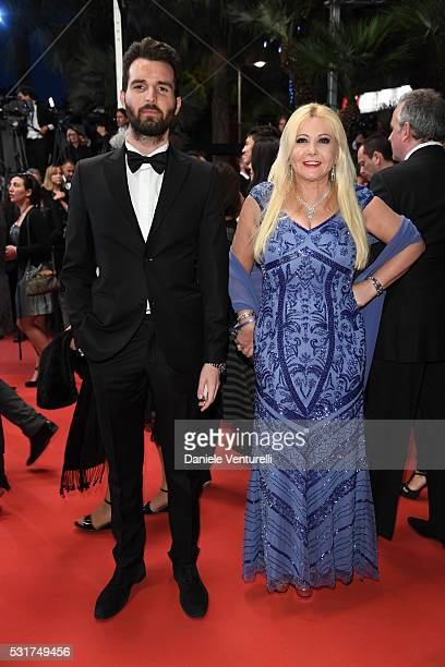 Andrea Iervolino and Monika Bacardi attends the 'Hands Of Stone' premiere during the 69th annual Cannes Film Festival at the Palais des Festivals on...