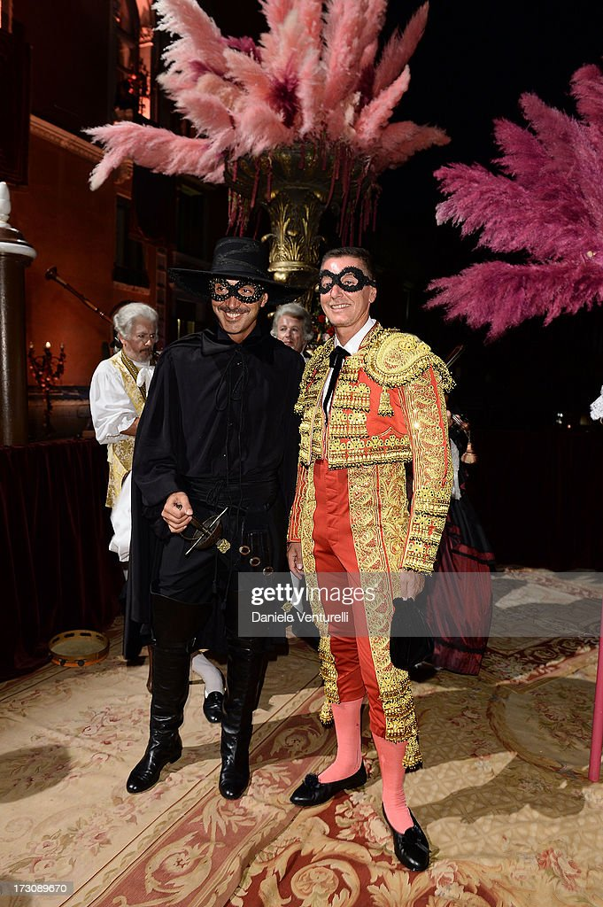 Andrea Incostri and <a gi-track='captionPersonalityLinkClicked' href=/galleries/search?phrase=Stefano+Gabbana+-+Modedesigner&family=editorial&specificpeople=4820355 ng-click='$event.stopPropagation()'>Stefano Gabbana</a> attend the 'Ballo in Maschera' to Celebrate Dolce&Gabbana Alta Moda at Palazzo Pisani Moretta on July 6, 2013 in Venice, Italy.