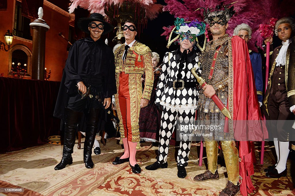 Andrea Incostri, Stefano Gabbana, Domenico Dolce and Massimiliano Barbato attend the 'Ballo in Maschera' to Celebrate Dolce&Gabbana Alta Moda at Palazzo Pisani Moretta on July 6, 2013 in Venice, Italy.