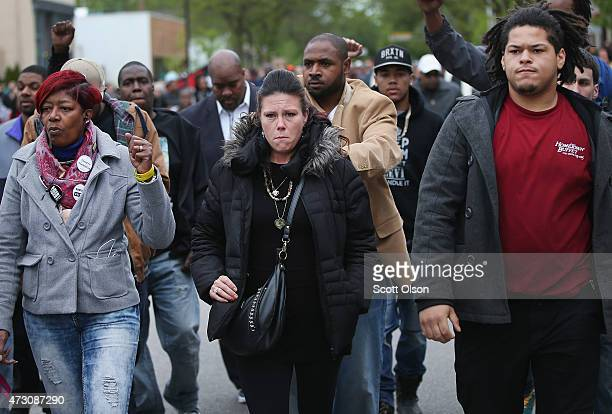Andrea Irwin the mother of Tony Robinson marches in the streets with family members and supporters after Dane County District Attorney Ismael Ozanne...