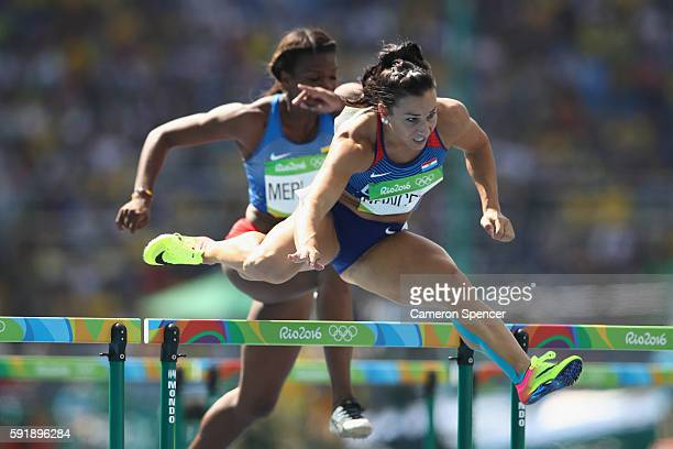 Andrea Ivancevic of Croatia competes in the Women's 100m Hurdles Round 1 on Day 11 of the Rio 2016 Olympic Games at the Olympic Stadium on August 16...