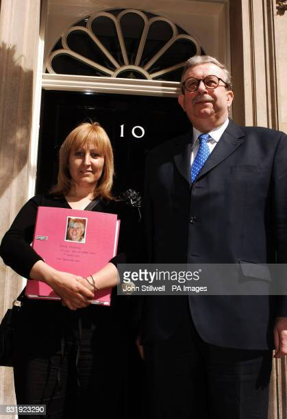 Andrea Jackson with her MP Keith Simpson outside number 10 Downing Street where she handed in a 10000 signature petition about road safety after her...