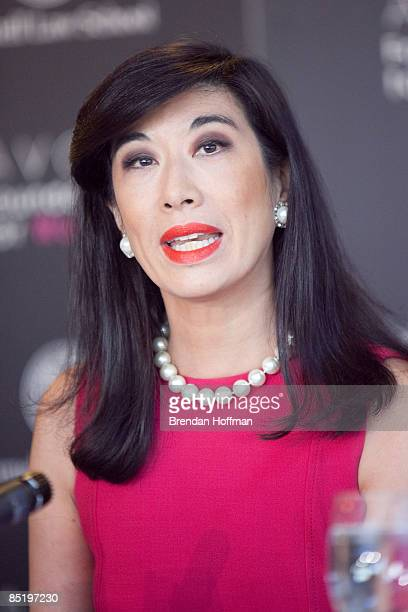 Andrea Jung Chairman and Chief Executive Officer of Avon Products appears at a news conference with to launch a new campaign against domestic...