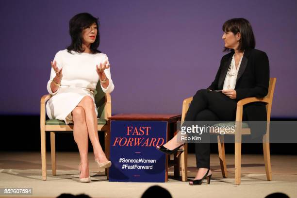 Andrea Jung President and CEO Grameen America and Kim Azzarelli Seneca Women attend Fast Forward Women's Innovation Forum at The Metropolitan Museum...