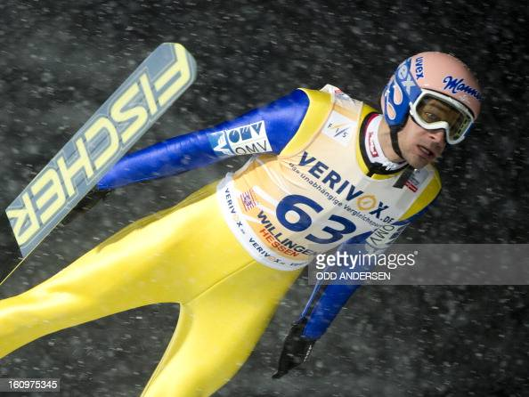 Andrea Kofler of Austria jumps during the qualifying run at the FIS Ski Jumping World Cup on the Muehlenkopfschanze hill in Willingen western Germany...
