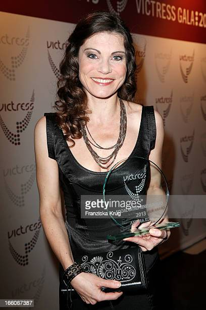 Andrea Kolb receives an award at the Victress Day Gala 2013 at the MOA Hotel on April 8 2013 in Berlin Germany