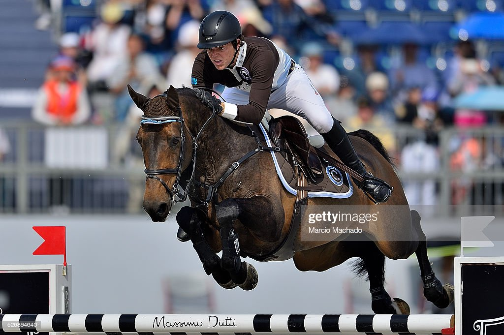 Andrea Kreuzer of Germany competing the Global Champions League Team Competition, second round on May 1, 2016 in Shanghai, China.