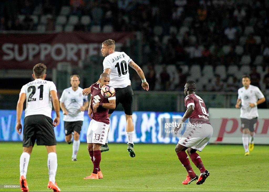 Andrea Lamantia and Bruno Peres during Tim Cup 20162017 match between Torino FC and FC Pro Vercelli at the Olympic Stadium of Turin on august 013...