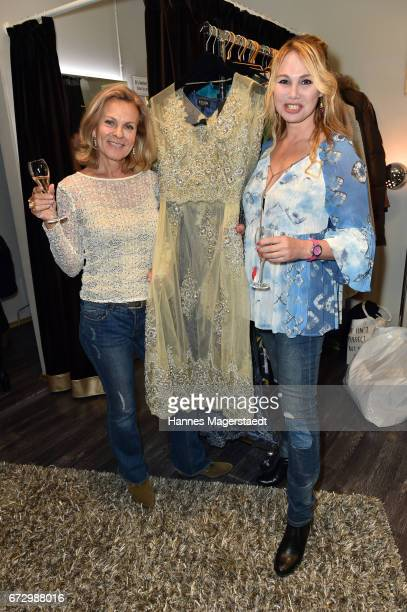 Andrea L'Arronge and Christine Zierl during the 'Kunst Kleid' fashion cocktail on April 25 2017 in Munich Germany