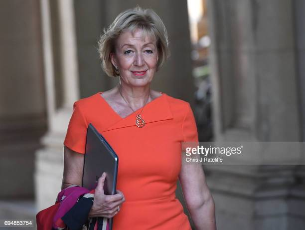 Andrea Leadsom arrives at 10 Downing Street on June 11 2017 in London England Prime Minister Theresa May Reshuffles her cabinet after the snap...