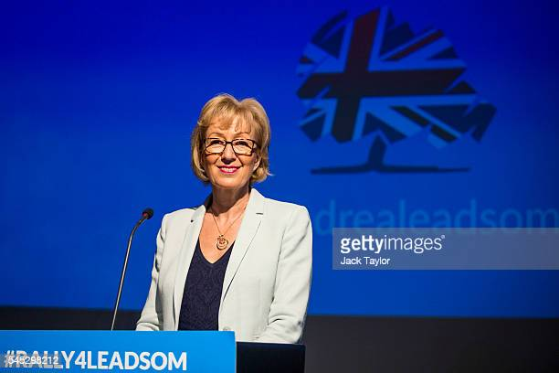 Andrea Leadsom British Energy Secretary and Conservative Party leadership contender speaks at a campaign rally on July 7 2016 in London England Ms...