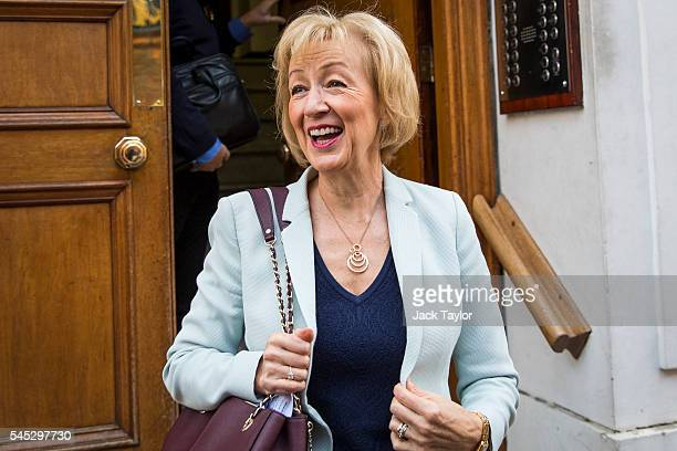 Andrea Leadsom British Energy Secretary and Conservative Party leadership contender leaves her home to go to a campaign rally on July 7 2016 in...