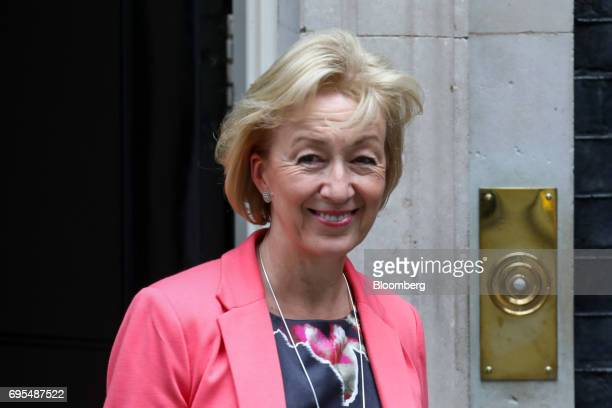 Andrea Leadsom leader of the House of Commons leaves number 10 Downing Street in London UK on Monday June 12 2017 May chaired a meeting of her new...