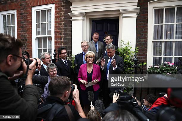 Andrea Leadsom MP speaks to the media as she announces her withdrawal from the Conservative leadership race at Cowley Street race on July 11 2016 in...
