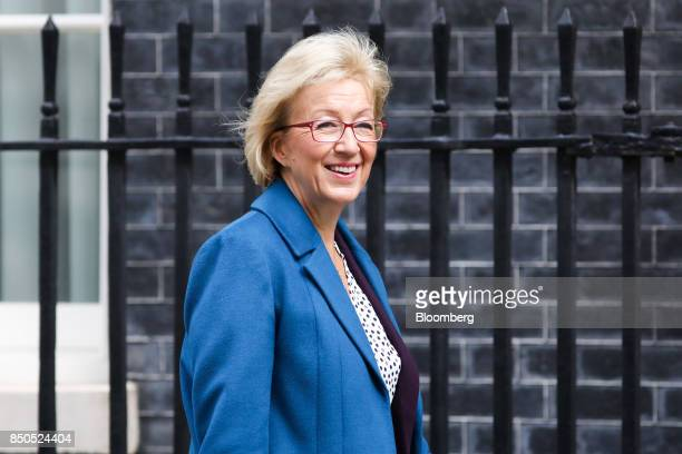 Andrea Leadsom UK leader of the House of Commons arrives for a special cabinet meeting at number 10 Downing Street in London UK on Thursday Sept 21...