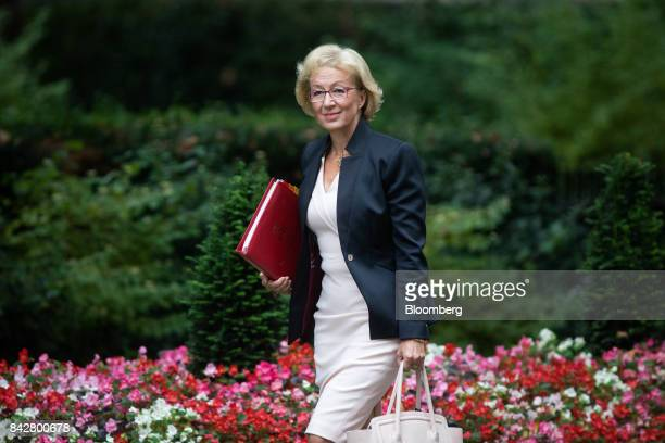 Andrea Leadsom UK leader of the House of Commons arrives for a weekly meeting of cabinet ministers at number 10 Downing Street in London UK on...