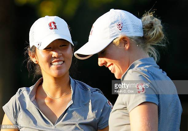 Andrea Lee of Stanford reacts after defeating teammate Casey Danielson on the sixth playoff hole during day 1 of the 2016 East Lake Cup at East Lake...