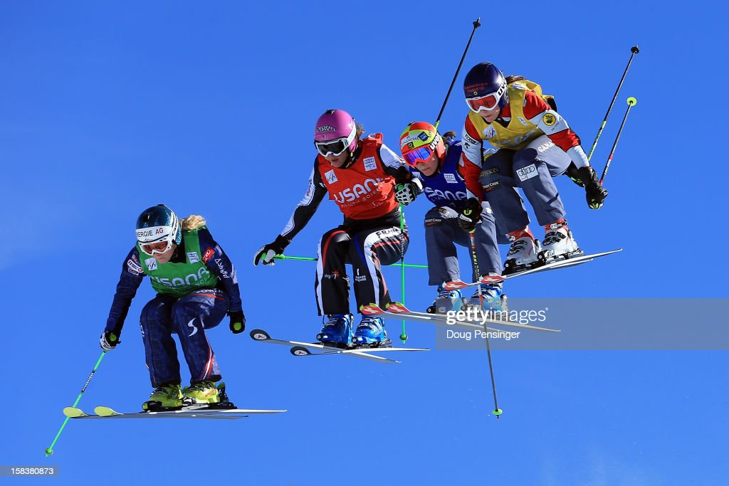 Andrea Limbacher of Austria, Alizee Baron of France, Marielle Thompson of France and Karolina Riemen of Poland compete in their quarter final heat in the Audi FIS Ski Cross World Cup on December 12, 2012 in Telluride, Colorado.