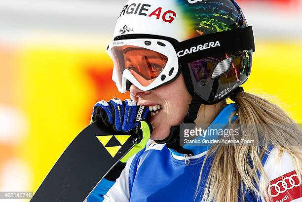 Andrea Limbacher of Austria takes 1st place during the FIS Freestyle Ski World Championships Men's and Women's Ski Cross on January 25 2015 in...