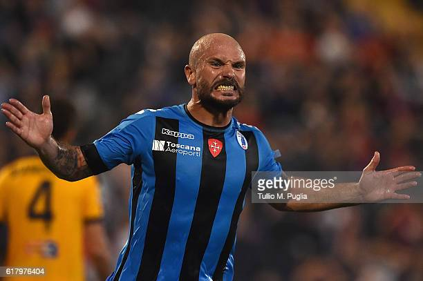 Andrea Lisuzzo of Pisa shows his dejection after missing a goal during the Serie B match between AC Pisa and Hells Verona at Arena Garibaldi on...