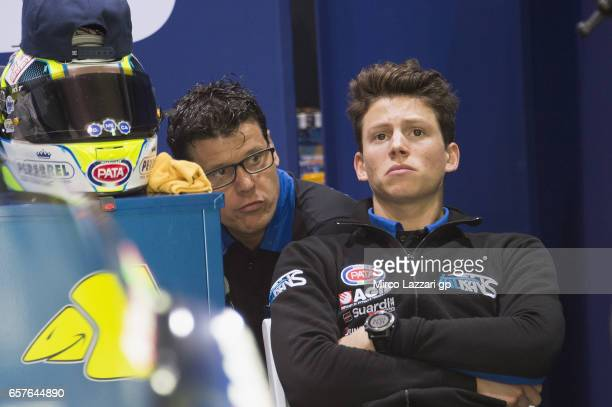 Andrea Locatelli of Italy and Italtrans Racing Team looks on in box during the MotoGp of Qatar Qualifying at Losail Circuit on March 25 2017 in Doha...