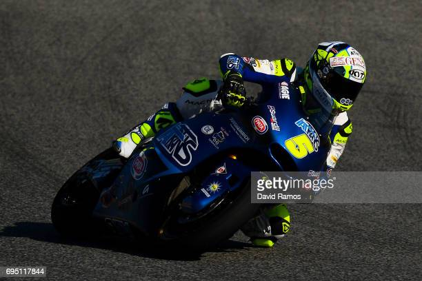 Andrea Locatelli of Italy and Italtrans Racing Team rides during the Moto2 warmup ahead of the Moto2 race at Circuit de Catalunya on June 11 2017 in...