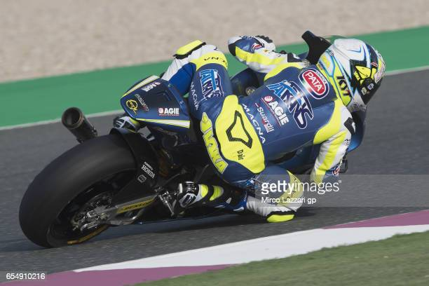 Andrea Locatelli of Italy and Italtrans Racing Team rounds the bend during Moto2 And Moto3 Tests In Losail at Losail Circuit on March 18 2017 in Doha...
