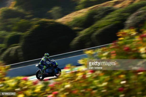 Andrea Locatelli of Italy and the Italtrans Racing Team rides during warmup for Moto3 at Circuito de Jerez on May 7 2017 in Jerez de la Frontera Spain