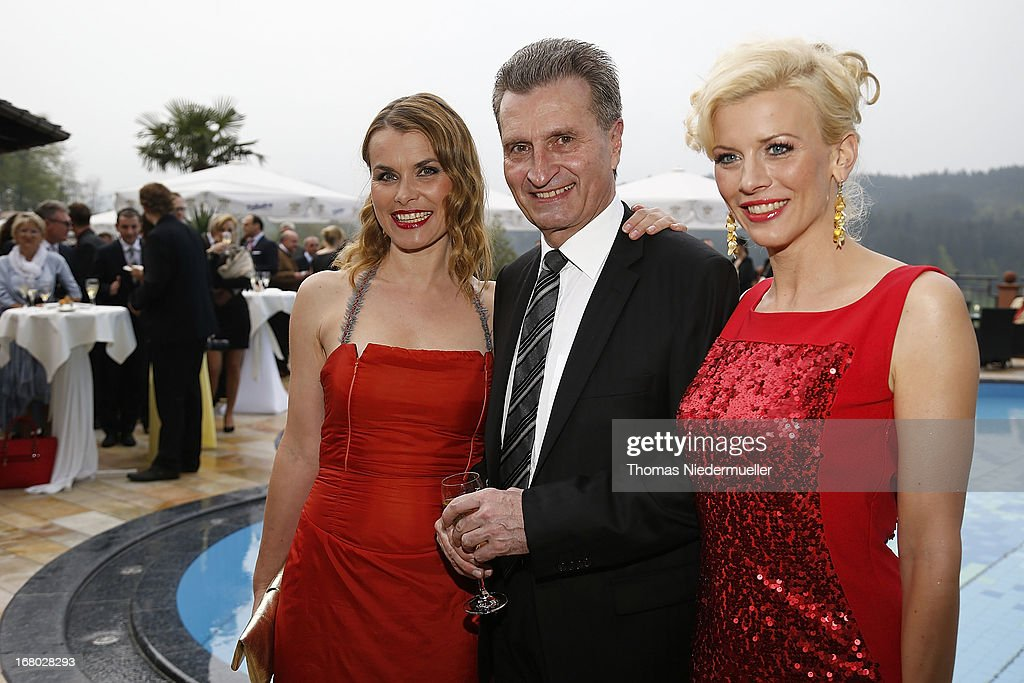 Andrea Luedke, Guenther Oettinger and Eva Habermann pose prior to the Spa Diamond Award 2013 on May 4, 2013 in Bad Peterstal-Griesbach, Germany.
