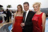 Andrea Luedke Guenther Oettinger and Eva Habermann pose prior to the Spa Diamond Award 2013 on May 4 2013 in Bad PeterstalGriesbach Germany