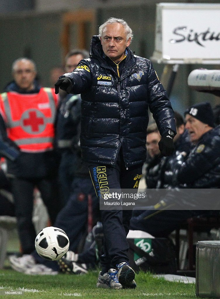 Andrea Mandorlini head coach of Verona gestures during the Serie B match between Reggina Calcio and Hellas Verona at Stadio Oreste Granillo on February 1, 2013 in Reggio Calabria, Italy.