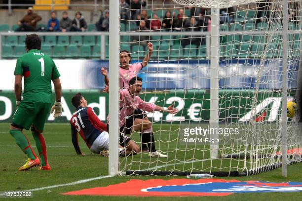 Andrea Mantovani of Palermo scores his team's third goal during the Serie A match between US Citta di Palermo and Genoa CFC at Stadio Renzo Barbera...