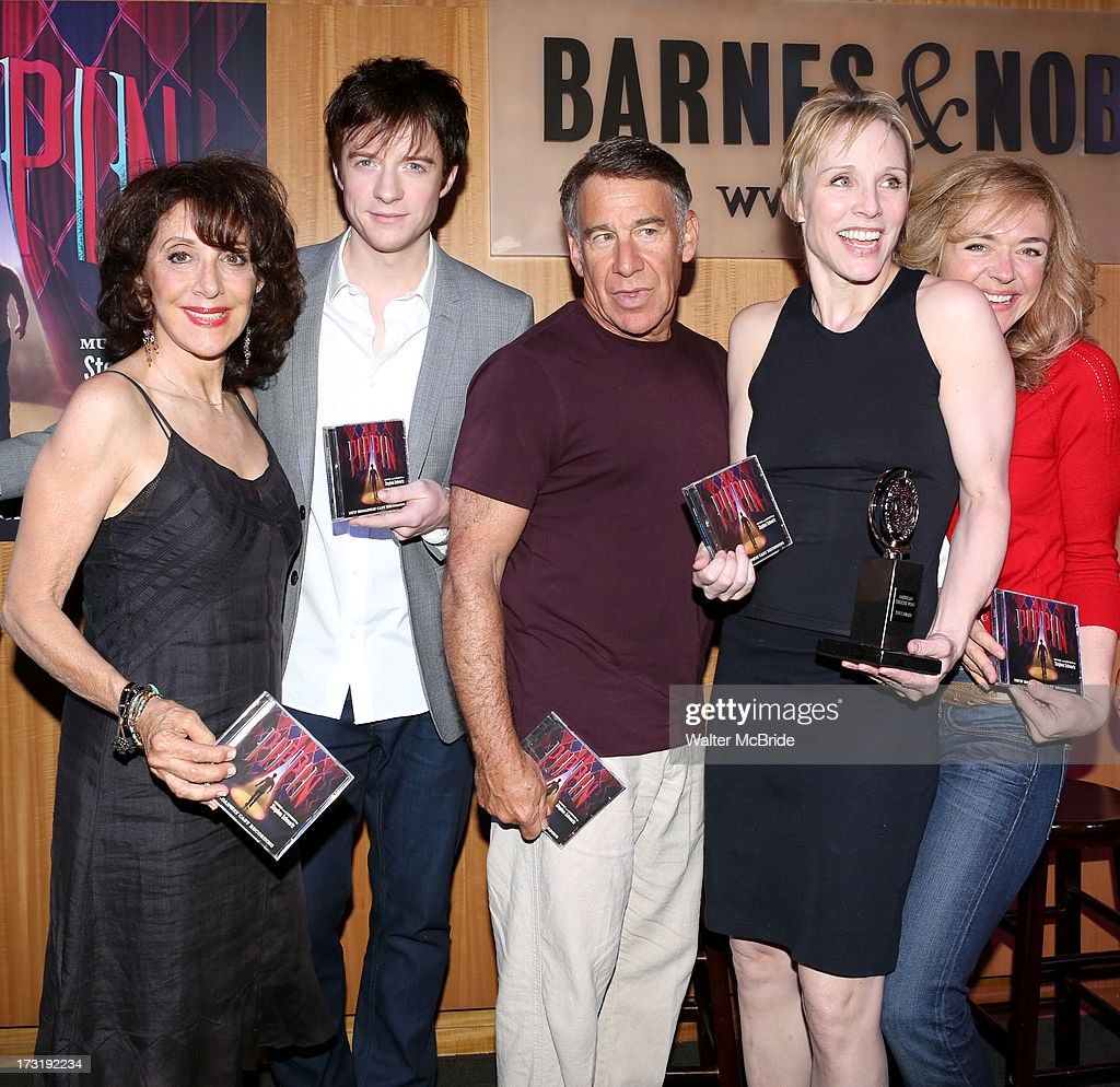 Andrea Martin, Matthew James Thomas, Composer <a gi-track='captionPersonalityLinkClicked' href=/galleries/search?phrase=Stephen+Schwartz&family=editorial&specificpeople=2315334 ng-click='$event.stopPropagation()'>Stephen Schwartz</a>, Charlotte dÕAmboiseÊandÊRachel Bay Jones attend the Broadway cast of 'Pippin' performance and CD signing at Barnes & Noble, 86th & Lexington on July 9, 2013 in New York City.