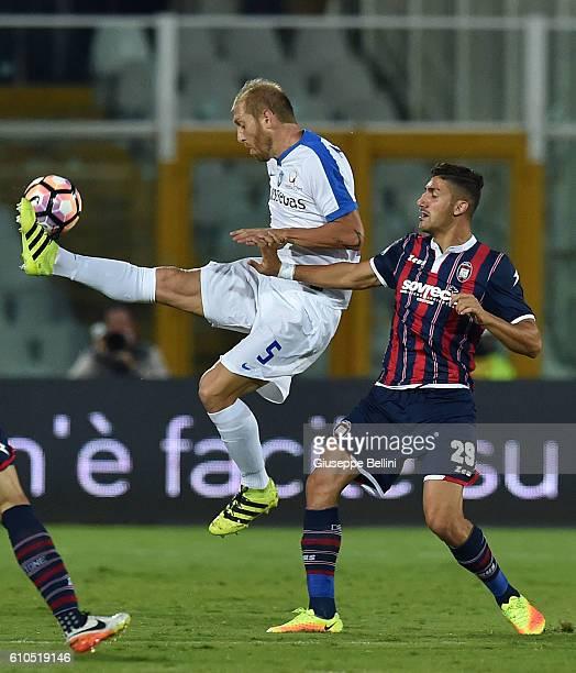Andrea Masiello of Atalanta BC and Leonardo Capezzi of FC Crotone in action during the Serie A match between FC Crotone and Atalanta BC at Adriatico...