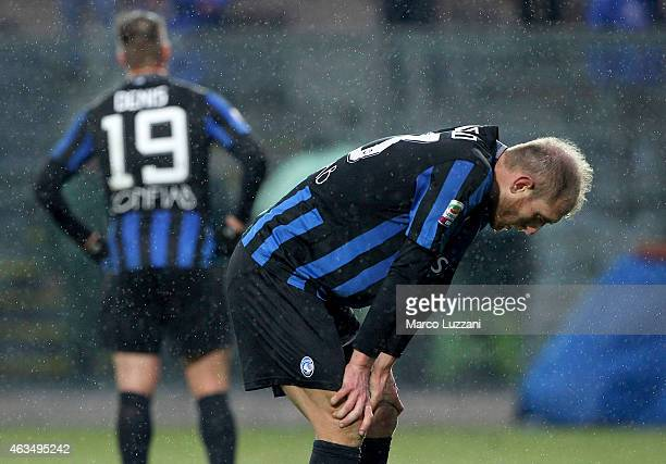 Andrea Masiello of Atalanta BC shows his dejection at the end of the Serie A match between Atalanta BC and FC Internazionale Milano at Stadio Atleti...