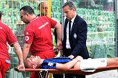 Andrea Masiello of Atalanta leaves the pitch after an injury during the Serie A match between US Citta di Palermo and Atalanta BC at Stadio Renzo...