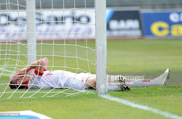 Andrea Masiello of Bari after reacts during the Serie A match between AS Bari and Lecce at Stadio San Nicola on May 15 2011 in Bari Italy